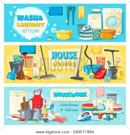 Laundry And Wash, House Cleaning And Housework Banners. Equipment And Tools For Domestic Chores And