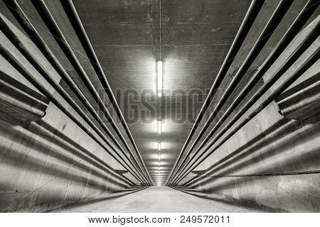 Illuminated Inside Of Modern Bridge