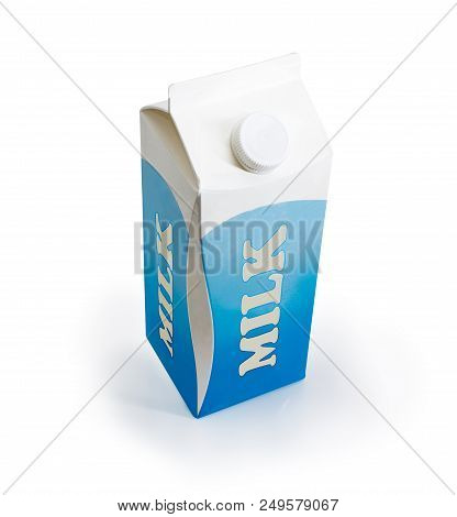 Milk Carton Of Pasteurized Milk With Screw Cap On A White Background
