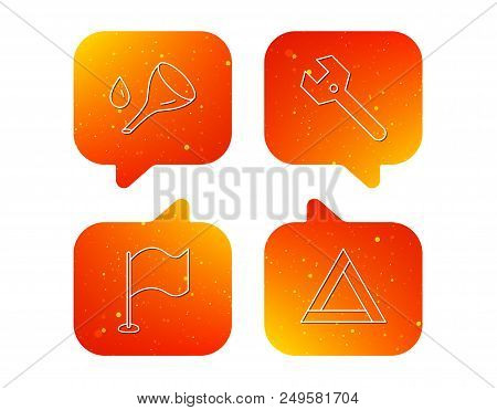 Flag Pointer, Emergency Sign And Wrench Key Icons. Emergency Triangle, Oil Change Linear Signs. Oran