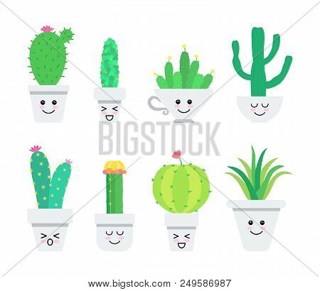 Set Of Cute Cartoon Cacti Characters. Vector Illustration.