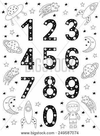 Numbers For Kids In Scandinavian Style. Poster With Space Doodles And Letters. Vector Illustration.