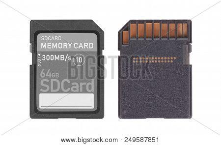 Memory Card Isolated On White Background - 64 Gigabyte