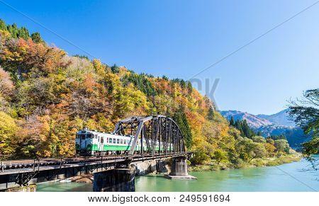 Autumn fall foliage Fukushima Tadami Black Bridge View Point in Fukushima Japan