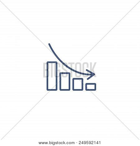 Graph Chart Down Line Vector Icon. Down Arrow Symbol. Flat Illustration.