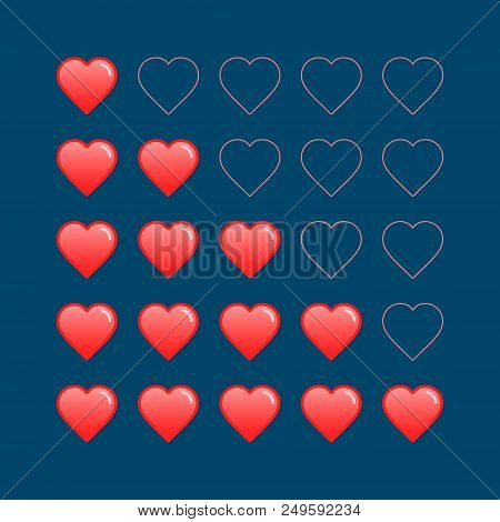 Five Heart Rating Illustration. Vector Customer Review, Rating, Quality And Level Concept.