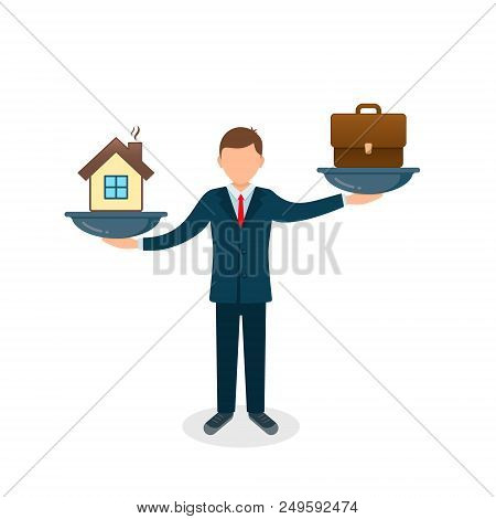 House Vs Business Case On Scales Icon. Solution Between Work, Money And Family. Balance Life Busines