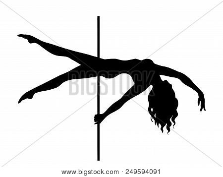 Pole Dance Element Is Advanced Plank. Isolated Black Silhouette On White Background. Clipart For Dan