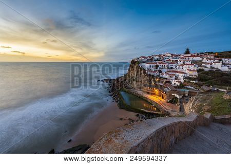 The Azenhas Do Mar Village At Sunset In Portugal, Europe; Concept For Travel In Portugal And Most Be