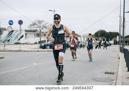 Portugal, Setubal, April 8, 2018: Triathlon Competitions. Professional Triathlonists Participate In