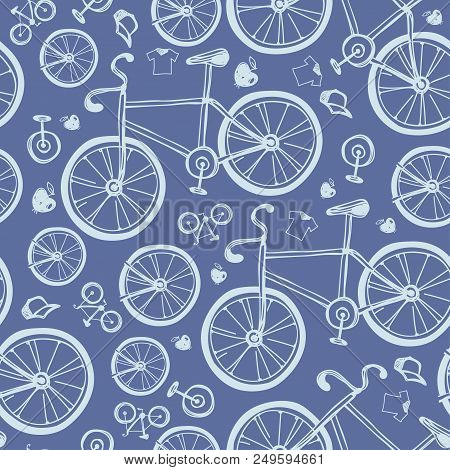 Seamless Blue Bicycles Pattern. Color Icons Velocipede On White Background. Sport Sketch Equipment