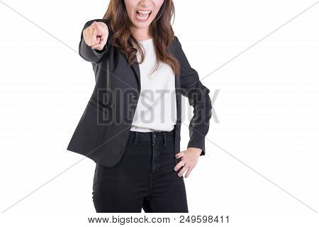 Angry Business Woman  Point To Something. Isolated On White Background. Selective Focus At Right Han
