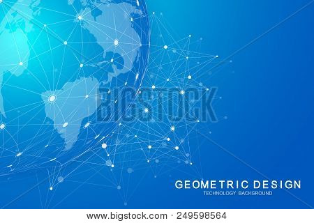 Global International Blockchain With World Map. Modern Future Planet Space Low Poly Modern Future Te