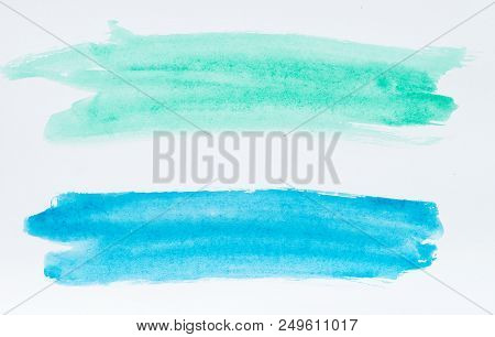 Set Of Watercolor Brush Strokes Of Blue And Azure Paint On White Background. Watercolor Abstract Tex
