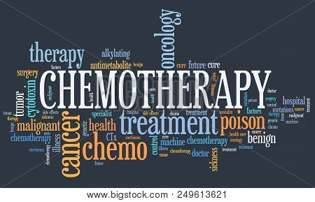 Chemo Treatment Concept - Cancer Treatment Type Word Cloud.