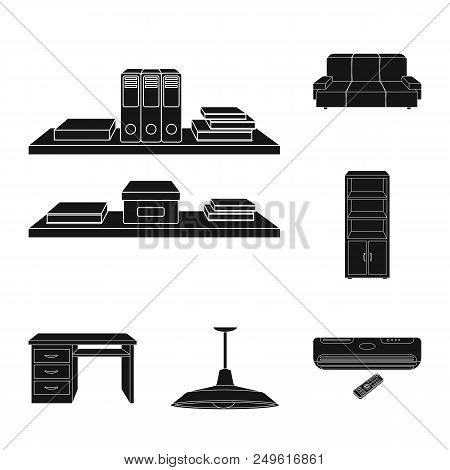 Interior Of The Workplace Black Icons In Set Collection For Design. Office Furniture Vector Symbol S