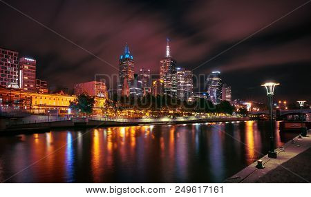 Melbourne, Australia - December 11, 2014: Melbourne Skyline Along The Yarra River At Dusk. Melbourne