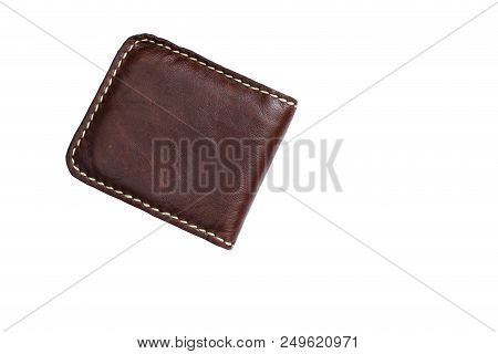 Vintage Style Of Leather Wallet Isolated On White Background., Clipping Path Included