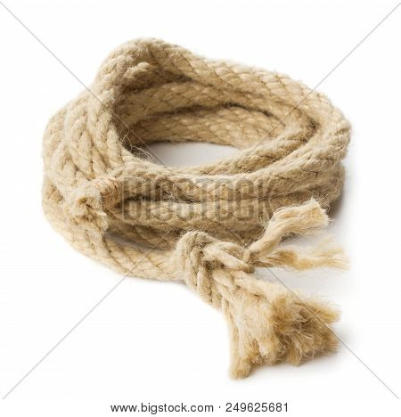 Single Hank Of Natural Rope Isolated On White Background
