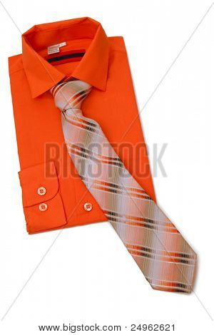 Shirt with tie isolated on white.