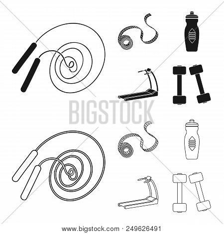 Measuring Tape, Water Bottle, Treadmill, Dumbbells. Fitnes Set Collection Icons In Black, Outline St