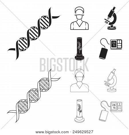 Plant In Vitro, Nurse, Microscope, Tonometer. Medicine Set Collection Icons In Black, Outline Style