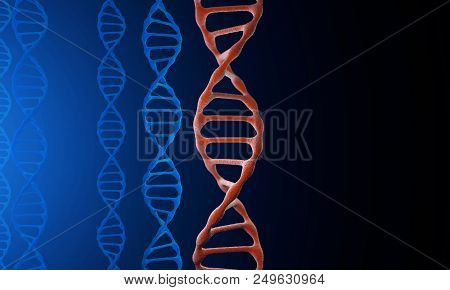 A Physical Model Of Dna On The Holographic Projector. 3d Model Of Dna. 3d Render 3d Illustration. An
