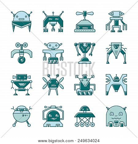 Robot Outline With Displaced Fill Icon Set. Flat Design Cute Cyborg Toy, Character Ai, Mashine Trans