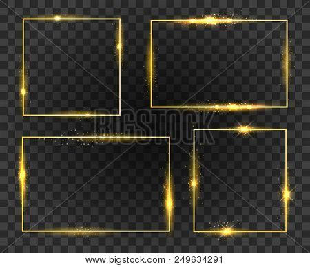 Glow Frames. Golden Shiny Frame Set Isolated On Transparent Background, Gold Fashion Glowing Square