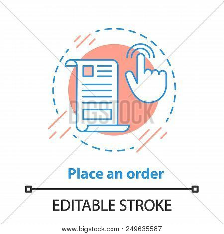 Order placing concept icon. Shopping idea thin line illustration. Merchandise. Vector isolated outline drawing. Editable stroke poster