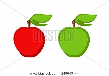 Icon Set Of Ripe Apples Isolated On White. Vector Clipart Illustration Of Natural Eco Product.