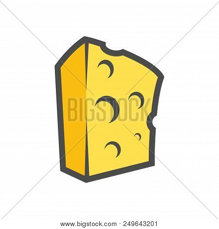 Block Of Cheese Isolated On White. Vector Clipart For Icon Or Logotype Of Organic Dairy Production.