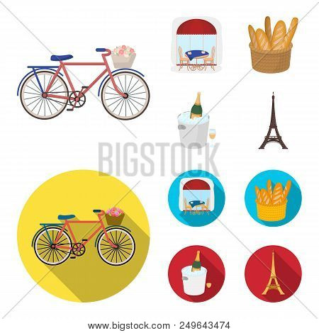 Bicycle, Transport, Vehicle, Cafe .france Country Set Collection Icons In Cartoon, Flat Style Vector