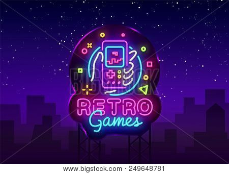 Retro Games Vector Logo. Retro Geek Gaming Gamepad In Hand Neon Sign, Modern Trend Design, Vivid Vec