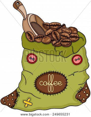 Scalable Vectorial Representing A Green Bag Of Coffee Beans And Scoop, Element For Design, Illustrat