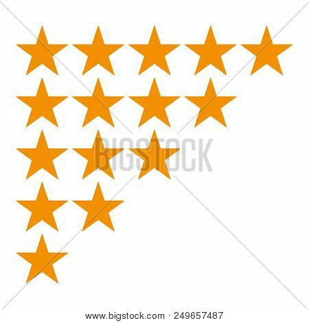 Five Star Rating Icon Isolated On White Background. Different Ranks From One To Five Stars. Golden S