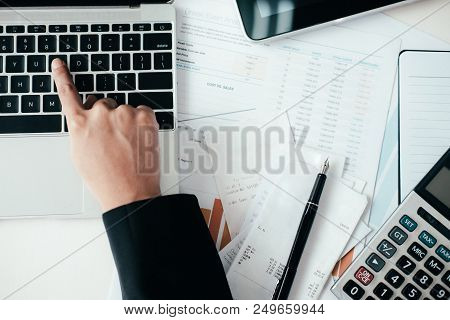 Finances Saving Economy concept. Accountant or banker calculate the cash bill. poster