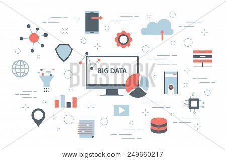 Big Data Concept. Modern Computer Technology. Analyzing Digital Information From The Internet And Ma