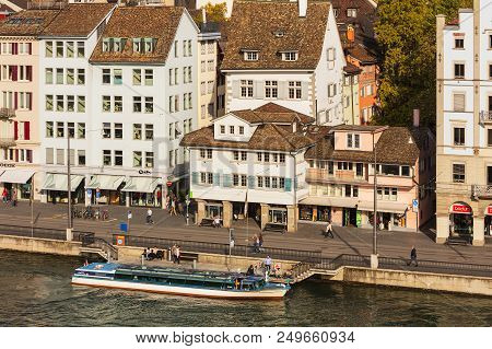 Zurich, Switzerland - September 28, 2017: Buildings Of The Historic Part Of The City Of Zurich Along