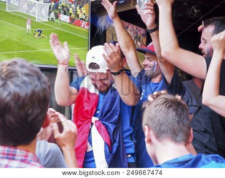 St Malo, France - July 15, 2018. Unidentified French Football Fans Supporters At France In Front Of