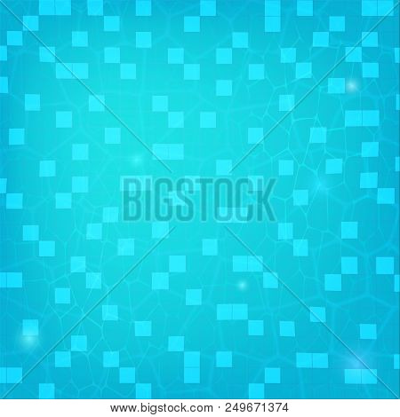 Blue Ripped Water, Top View. Texture Of Water In Swimming Pool, Flat Lay View. Reflexion On The Wate
