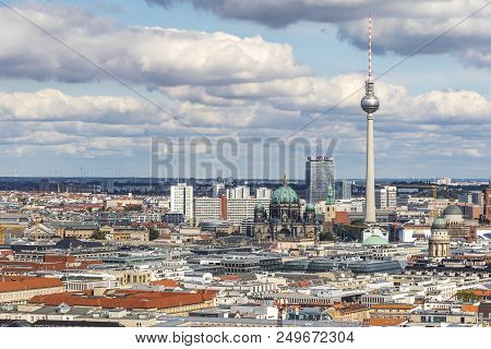 Berlin, Germany - September 22, 2017: Classic Aerial View Of Berlin Skyline With Famous Tv Tower (fe