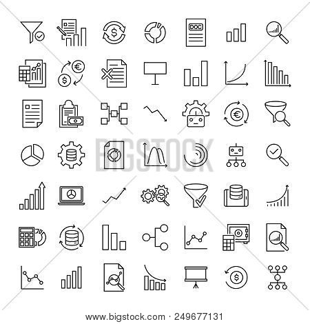 Set Of Premium Analysis Icons In Line Style. High Quality Outline Symbol Collection Of Data. Modern