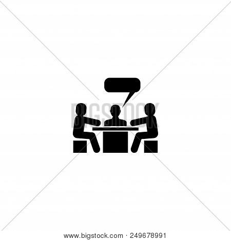 Discussion Meeting Conversation. Flat Vector Icon Illustration. Simple Black Symbol On White Backgro