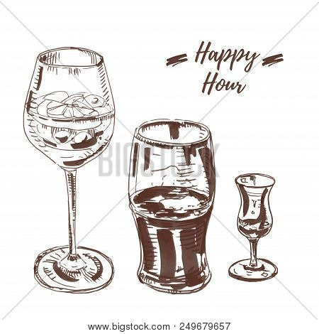 Cold Drinks Set: Spritz Cocktail, Stout Beer Or Cola And Grappa. Vector Illustration From Hand Drawn