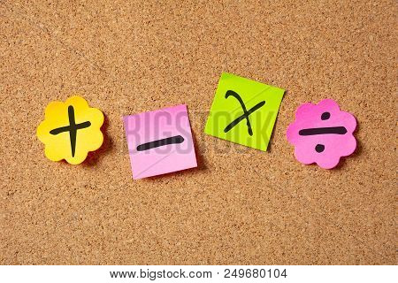 Sticky Colorful Notes In Flower Shape, Isolated, With Math Symbols On Corkboard