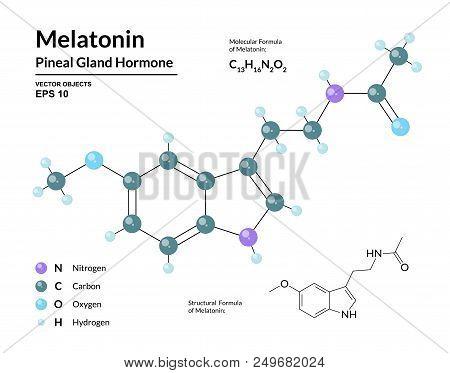 Melatonin. Pineal Gland Hormone. Regulator Of Diurnal Rhythms. Structural Chemical Molecular Formula