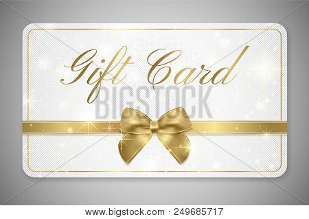 Gift Card (gift Card Discount), Gift Coupon With Golden Ribbon, Gold Bow And Star Pattern. White Bac