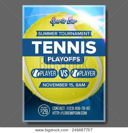 Tennis Poster Vector. Sports Bar Event Announcement. Vertical Banner Advertising. Court. Professiona
