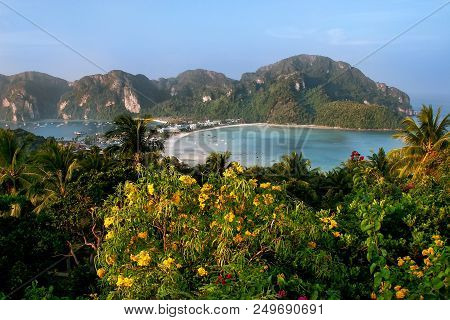 View Of Phi Phi Don Island From An Overlook, Krabi Province, Thailand. Koh Phi Phi Don Is Part Of A